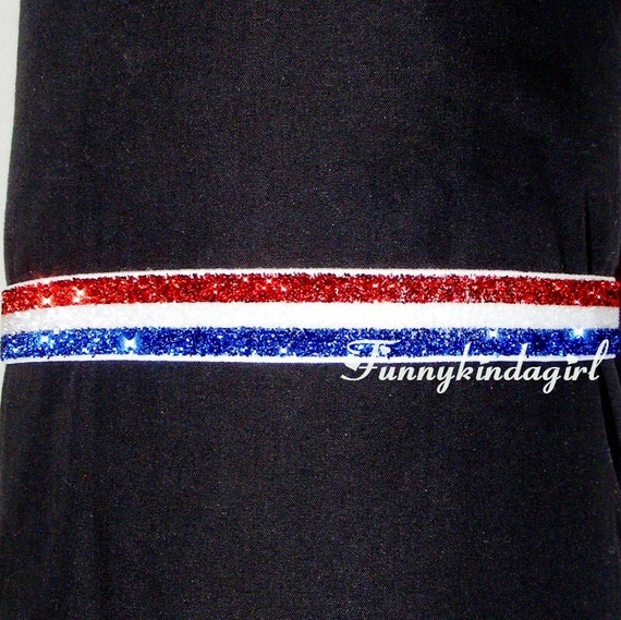 Red White and Blue Striped Sparkly Glitter Elastic Interchangeable 5/8 inch Stretch Headband Custom Doll to Adult sizes Patriotic