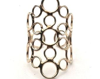 Silver Ring | Geometric Ring |  Adjustable Ring | Modern Ring | Round Ring | Statement Ring |  Stone Ring | Lace Ring | Romantic Ring | 925