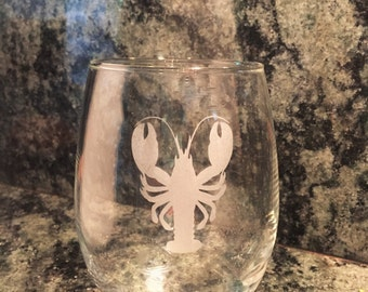 Lobster Stemless Wine Glass,Lobster Etched Wine Glass,Lobster Bar Ware,Lobster Glass,Lobster,Lobster Wine Glass,Lobster,Nautical Barware