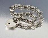 Puffy Heart Charm Bracelet, Walter Lampl Puffy Heart Bracelet, Sterling Silver Link Bracelet, 1940s Jewelry, Vintage Bracelet, Vintage Charm
