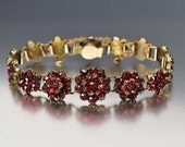 Victorian Bohemian Garnet Bracelet, Garnet Cluster Link Bracelet, Gold Bracelet, Victorian Bracelet, Antique Jewelry, Rose Cut Gemstone