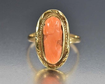 Vintage Cameo Ring, Antique Coral Victorian Ring, 10K Gold Antique Ring, Victorian Ring, Antique Jewelry, Size 6, Dinner Ring, Cameo Jewelry