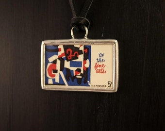 To the Fine Arts Postage Stamp Soldered Pendant Necklace
