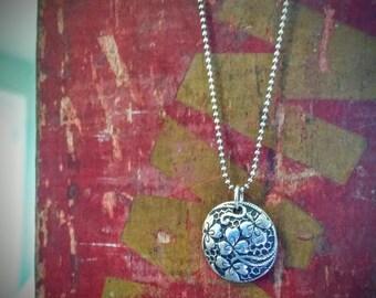 Irish Eyes...recycled silver handmade shamrock pendant....St. Patrick's Day
