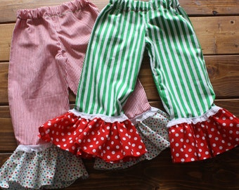 Ruffle Bottom Pants, Christmas Outfit for Girls and Boys, Christmas Pajamas, Holiday Photos, Striped Pants, Family Photos, Sibling Outfits