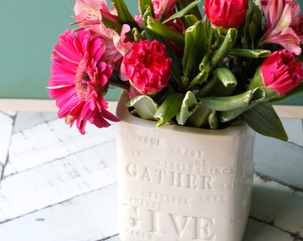 thanksgiving centerpiece, porcelain typography vase in white