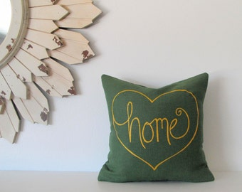 Pillow Cover - home is where the heart is- 12 x 12  inches - Choose your fabric and ink color - Accent Pillow