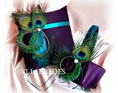 Peacock weddings purple and teal ring pillow and flower girl basket, wedding basket and pillow set