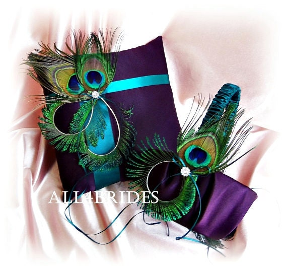 Peacock Wedding Ideas Etsy: Peacock Weddings Purple And Teal Ring Pillow And Flower Girl