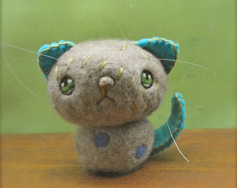 Needle Felted Cashmere Sad Cat Shelf Sitter Ready to Ship OOAK