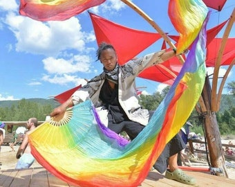 SILK Flow fans dance, veil fans, right & left hand pair - Spectrum Rainbow