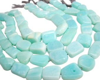 Blue Peruvian Opal Beads Oval, Luxe AAA, Smooth Nuggets, Peruvian Opal Beads, SKU 4357A