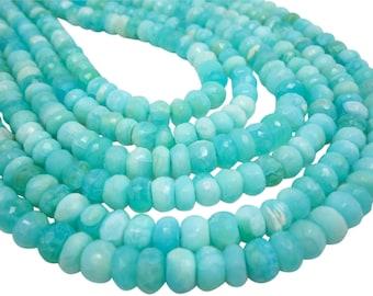 Blue Peruvian Opal Beads, Peruvian Opal Beads, Blue Opal Rondelles, Blue Opal Beads, Faceted Rondelles, SKU 4814