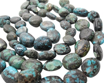Turquoise Nugget, Turquoise Beads, Green Blue Turquoise, Pebbles, December Birthstone, SKU 5146A