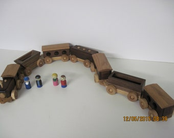 Seven Car Wood Train Set with Hand Painted People