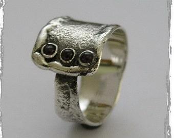 Mens ring, Unisex ring, sterling silver band, multi stones ring, mothers ring, birthstones ring, garnet gemstones ring - Your way  R1666