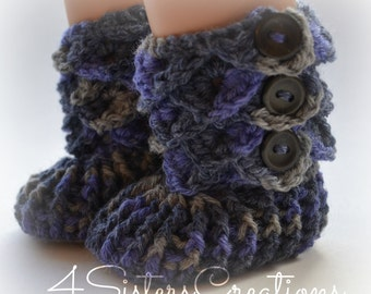 American Girl Crocodile Stitch 'Lavender Topaz' Booties with Buttons - 18 Inch Doll Crochet Boots - Made and Ready to go