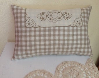 Decorative Throw Pillow in Tan and White Embroidery Embellished