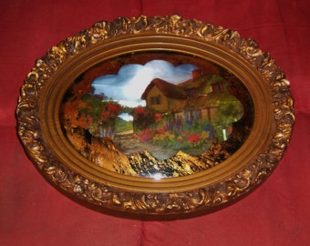 Victorian Cottage Garden Frame vintage framed foil print gold gesso wood convex bubble reverse painted glass mid century