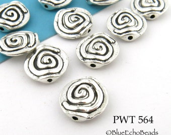 Pewter Spiral Beads Antique Silver 11mm (PWT 564) 10 pcs BlueEchoBeads
