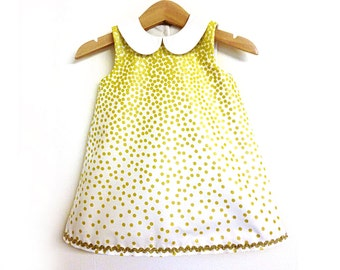 GOLD CONFETTI Christening baby girl dress, flower girl handmade dress, wedding formal party dress with collar and sleeves or sleeveless