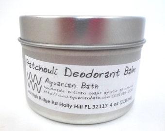 Patchouli Deodorant Balm - Natural Deodorant - Featured in the book Plastic Free - Vegan deodorant 4 oz
