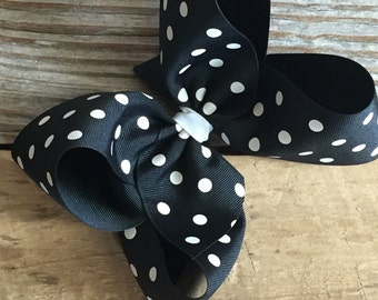 "6"" Black Polka Dot Boutique Bow"