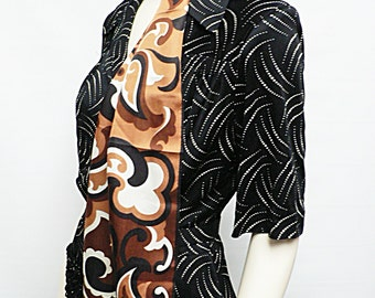 vintage 1950s 60s scarf /burgundy brown paisley abstract print / mid century graphic scarf