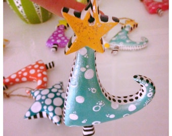 Hand Painted Whimsy Christmas Ornament, Sparkly Metallic Light Aqua with White and Black dots