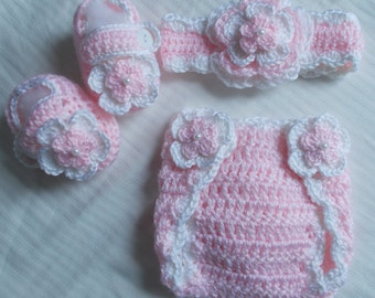 Baby Girl Crochet Headband Hairbow Booties Diaper Cover Baby Shower Gift Photo Prop 10002  MADE TO ORDER