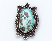 Big Turquoise Ring - Sky Blue Dry Creek - 70s Pawn Navajo Ring - sz. 7 1/2