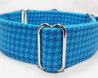 Turquoise Blue Houndstooth Greyhound, Whippet, Galgo, Pit Bull, Dog Sighthound Martingale Collar