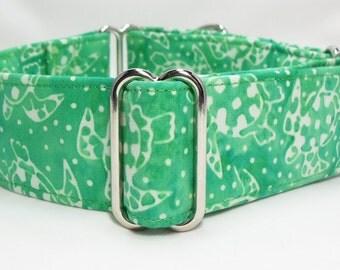Green Turtles Cotton Batik Greyhound, Whippet, Galgo, Pit Bull, Dog, Sighthound, Martingale Collar