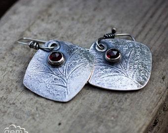 Sterling silver and Garnet rustic dangle earrings - Autumn Leaves -