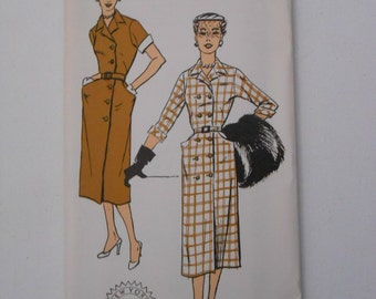 Vintage 50s Double Breasted Dress Pattern New York 1430 Size 16 Bust 34 UNCUT