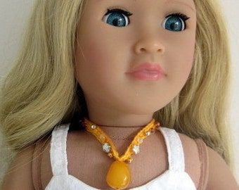 18inch doll necklace, AG doll pendant, doll jewelry, doll accessories, 18inch doll clothes, yellow, beaded choker, jewellery