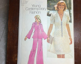 "6083 Simplicity Sewing Pattern 1970's Womens dress, top and wide-leg Pants Sz 10 Bust 32 1/2"" Waist 25"""