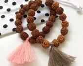 LITTLE gurus rudraksha and clear quartz mala bracelet for kids