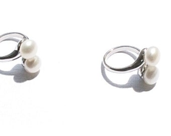 White Pearl Fresh Water Pearl Silver Plated Adjustable Ring