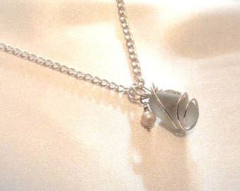 Large Seaglass Sterling Silver Wrapped Pendant Necklace SALE WAS 45.00 NOW 39.00
