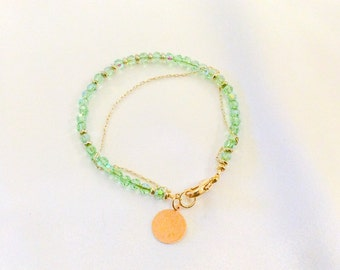 Peridot Crystal August Birthstone And Brass Stacking Bracelet