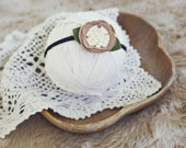 baby and toddler headband // photography prop // newborn photo prop // shabby chic // vintage style // forest fairy rosette TAN CREAM