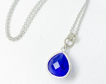 Sapphire Blue - Tear Drop - Crystal Glass Silver Long Necklace