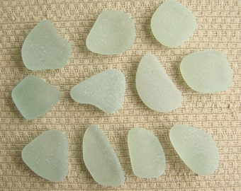 11 Rich and Pastel Seafoam Blue Green Charm Size Seaglass Treasures (1718) Mediterranean Sea Glass, Blue Green Beach Glass