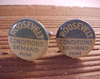Political Cuff Links Vintage FDR Franklin Roosevelt Campaign Button - Free Shipping to USA