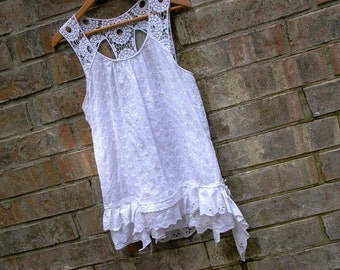 white hot. womens lagenlook blouse sm/m. romantic bohemian white lace camisole tank top shabby cottage chic eco upcycled festival clothing
