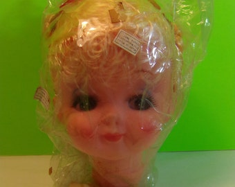 Vintage Blonde Hair Doll Head Doll Making Supplies