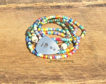 Guitar Pick Bracelet Music Beer Jeeps festival ready fashion style country girl rustic rocker musician treble clef stack stacking stackable