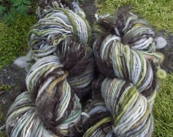Handspun art yarn, Hand painted handmade BFL wool yarn mohair locks, worsted, thick and thin-Lothlorien