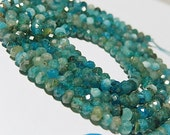 Apatite Gemstone. Blue Green Apatite Faceted Rondelle, Natural Apatite Gemstone. Semi Precious Gemstone. 4mm   Your Choice. (4ap)